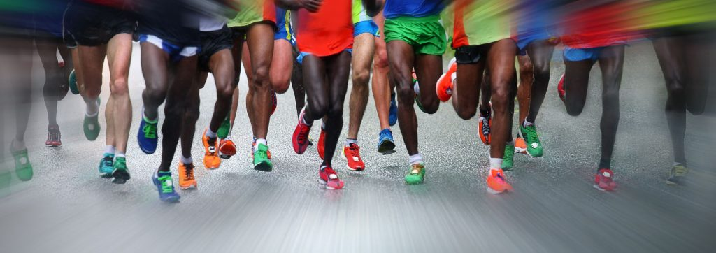 Pratiquants de running en groupe