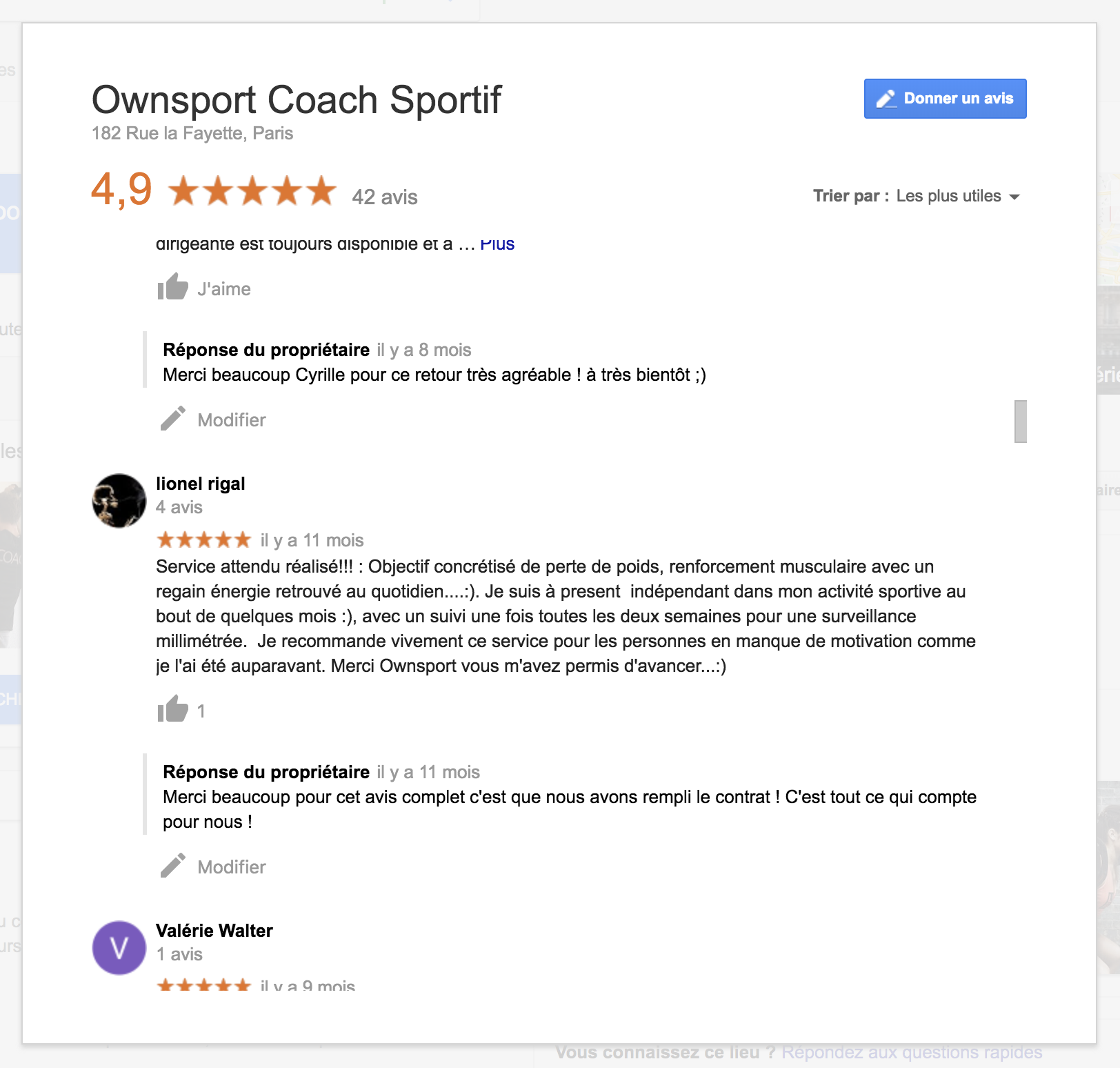 clients satisfait de leur coaching sportif avis google