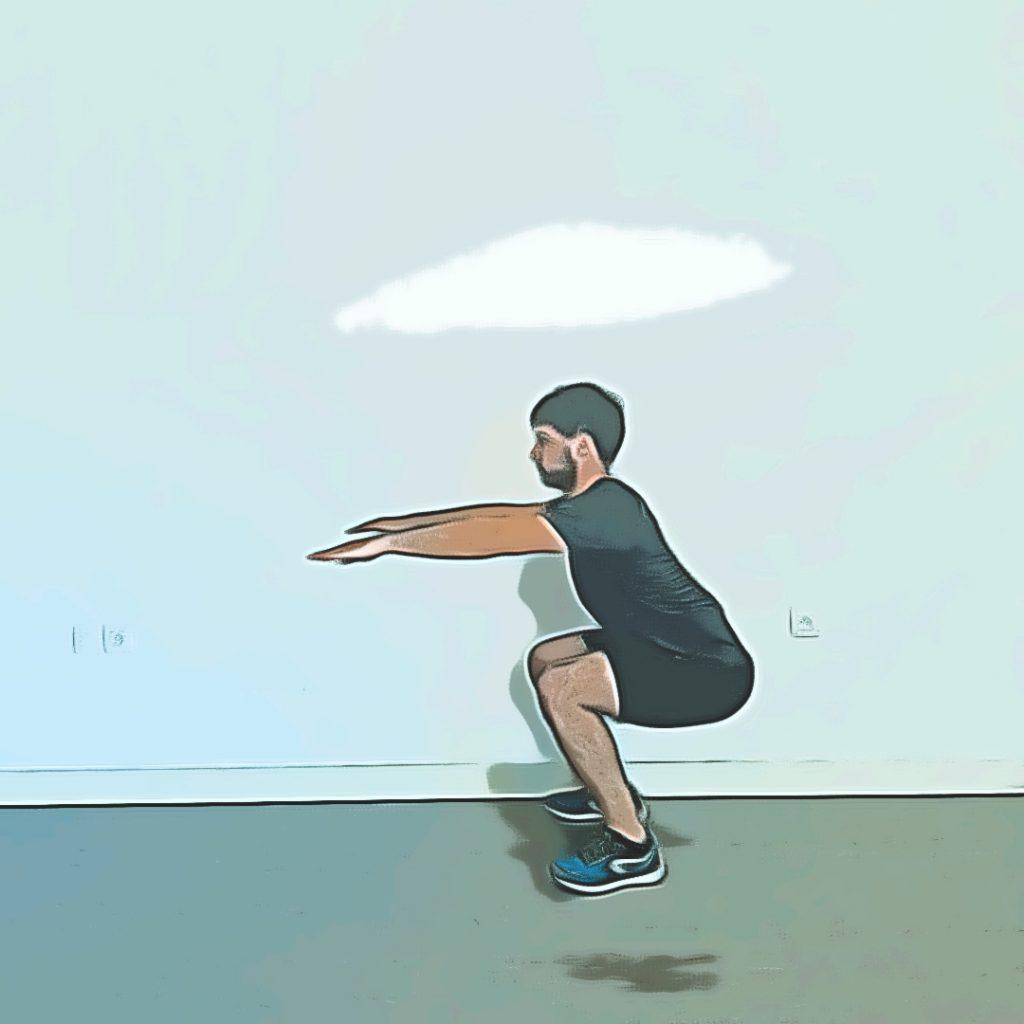 Flexion de jambes pour arriver en position basse de squat