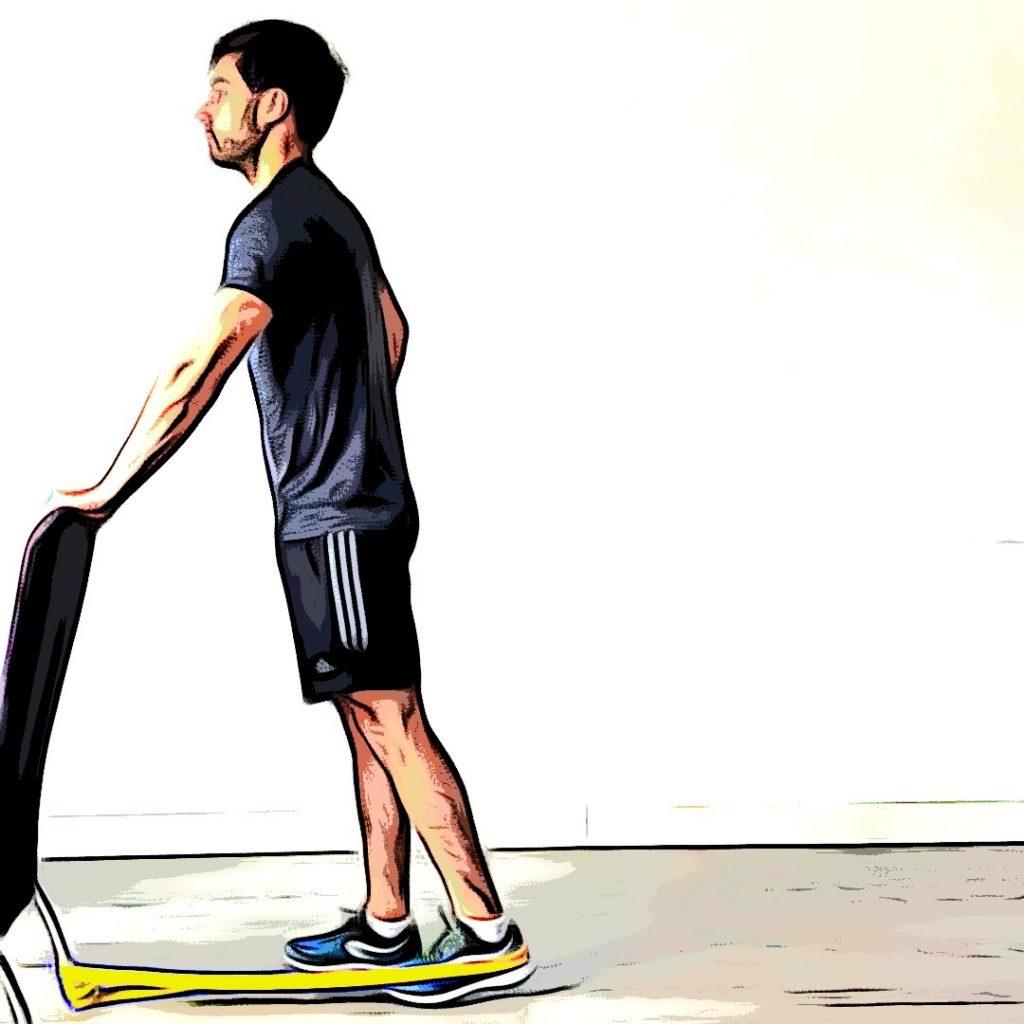 Extension de hanche avec élastique : position de départ