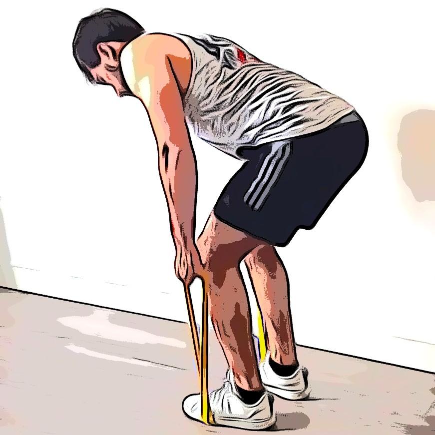 Rowing avec élastique : position de départ