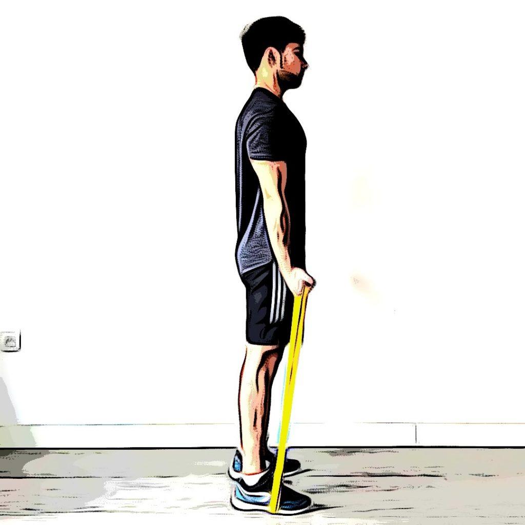 Curl biceps avec élastique : position de départ