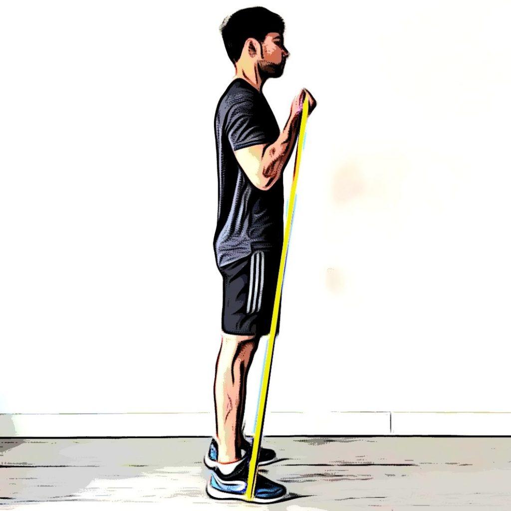 Curl biceps avec élastique : flexion
