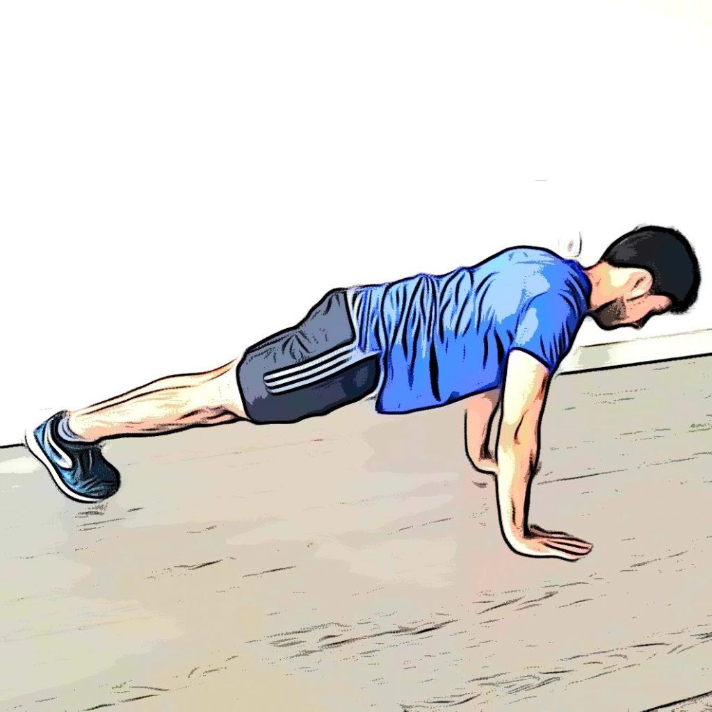 Burpee : position de planche bras tendus