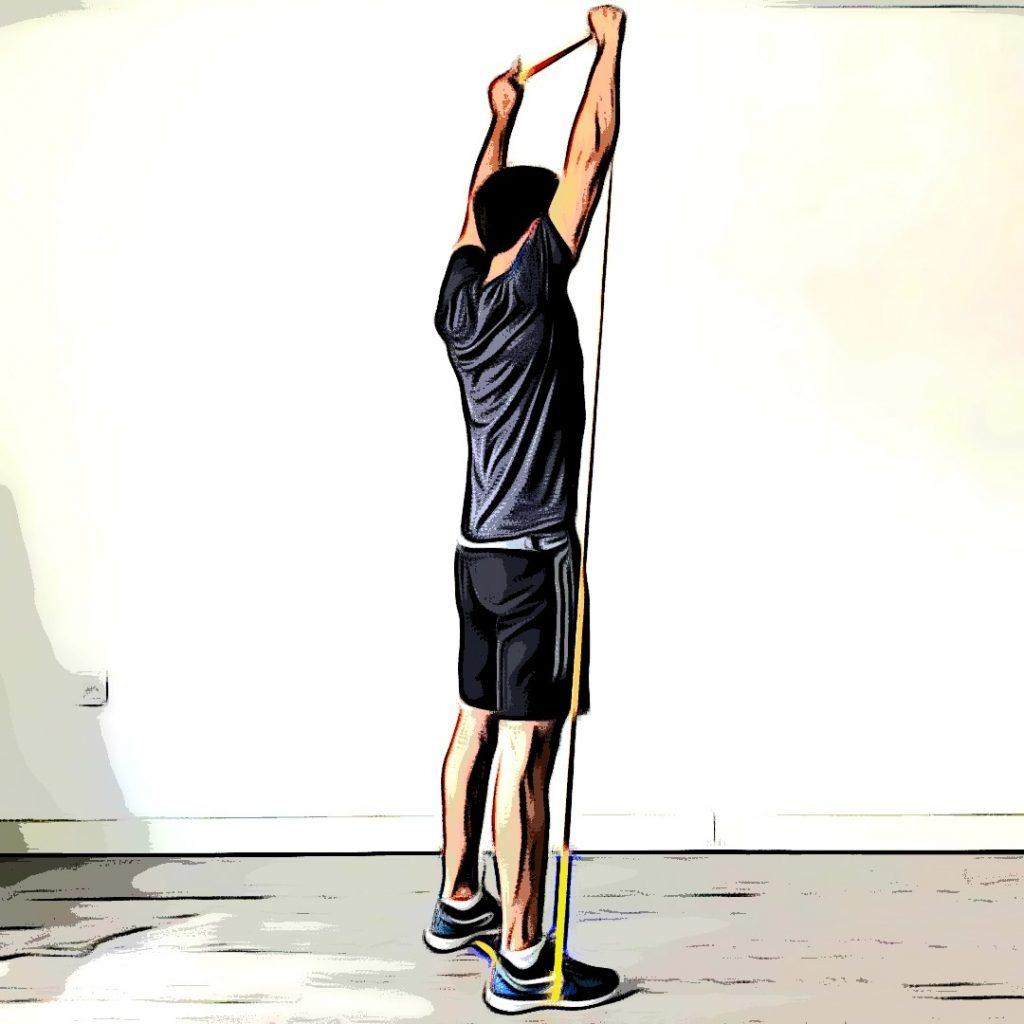 Exercices avec élastique : développé militaire