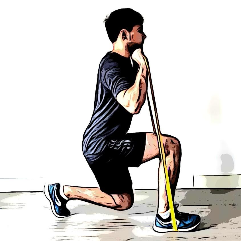 Exercices avec élastique : la fente