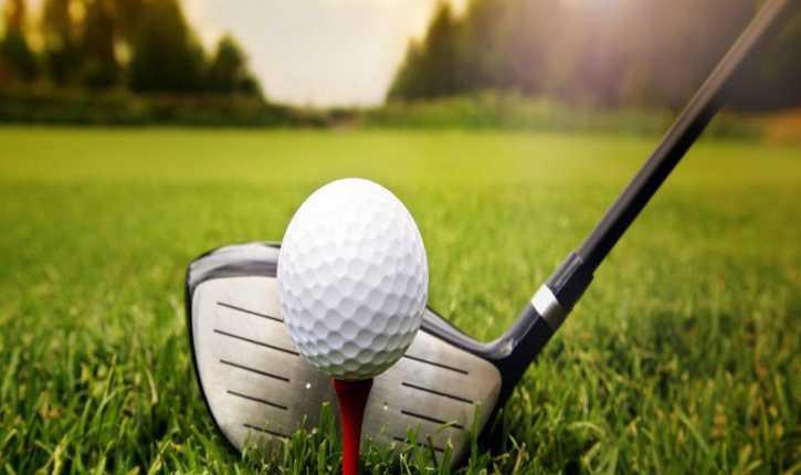Une balle de golf et un club sur un parcours de golf