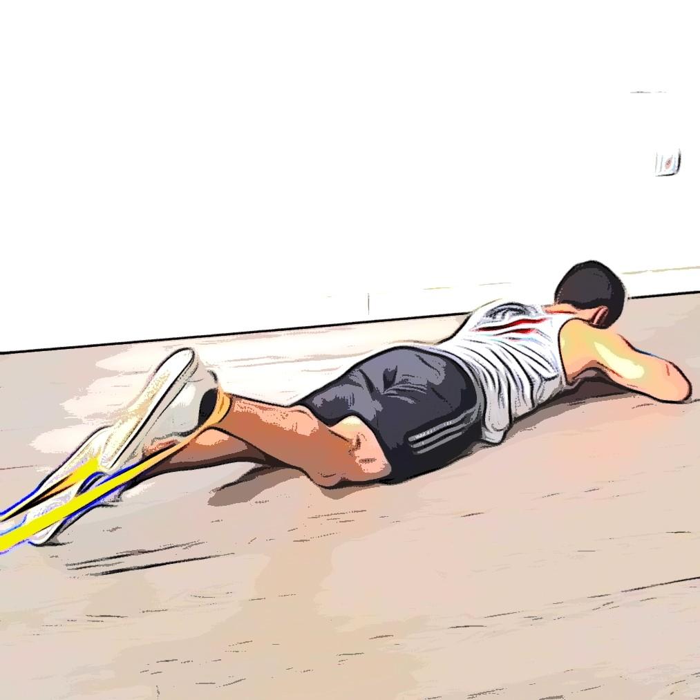 Leg curl avec élastique : position de départ