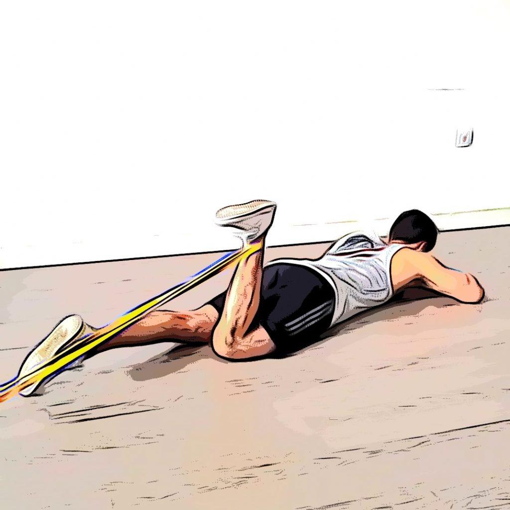 Leg curl avec élastique : flexion