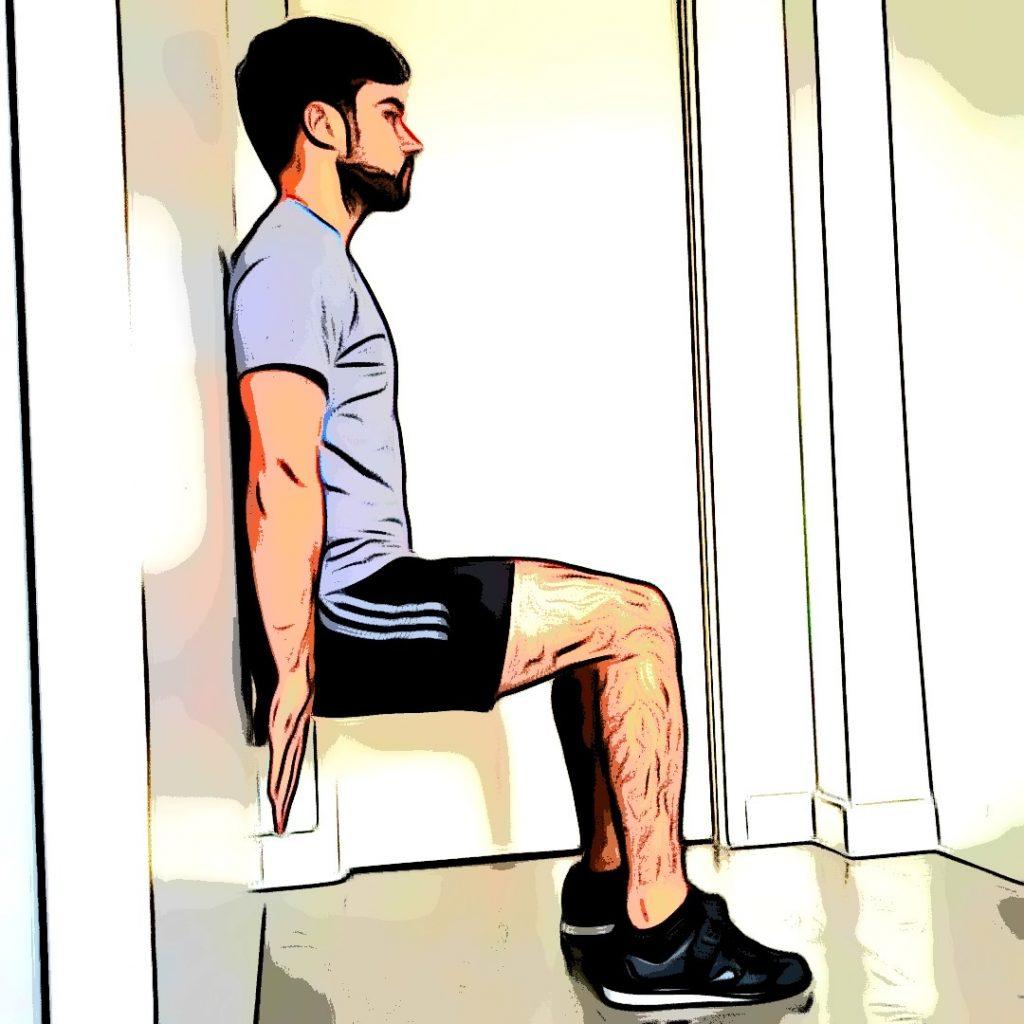 Exercice de la chaise pour un renforcement musculaire course à pied