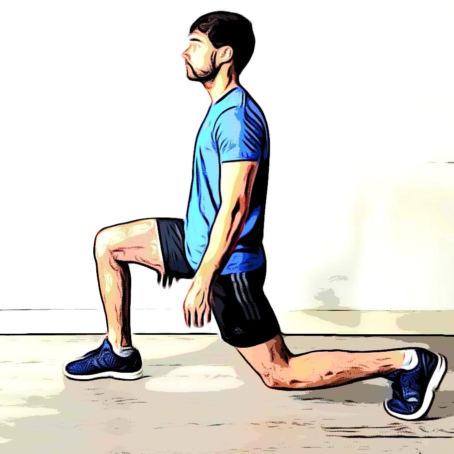 Fente arrière : flexion genou droit