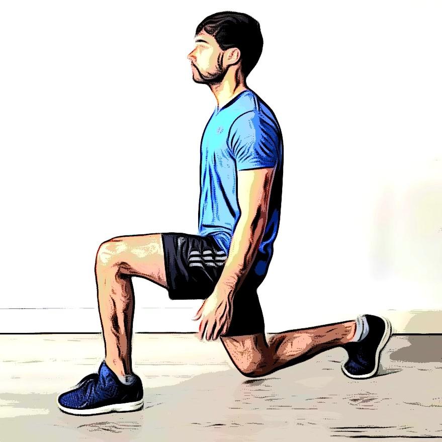Fente arrière : flexion genou gauche