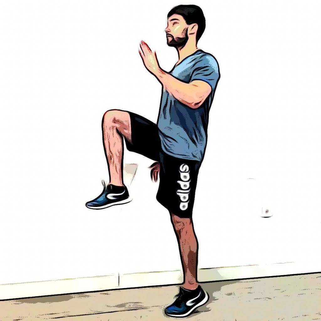 Montées de genoux : genou droit
