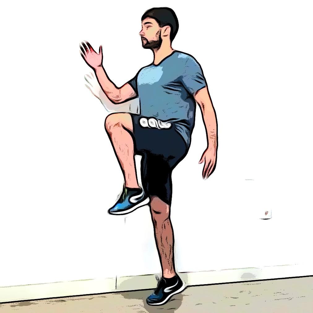 Montées de genoux : genou gauche