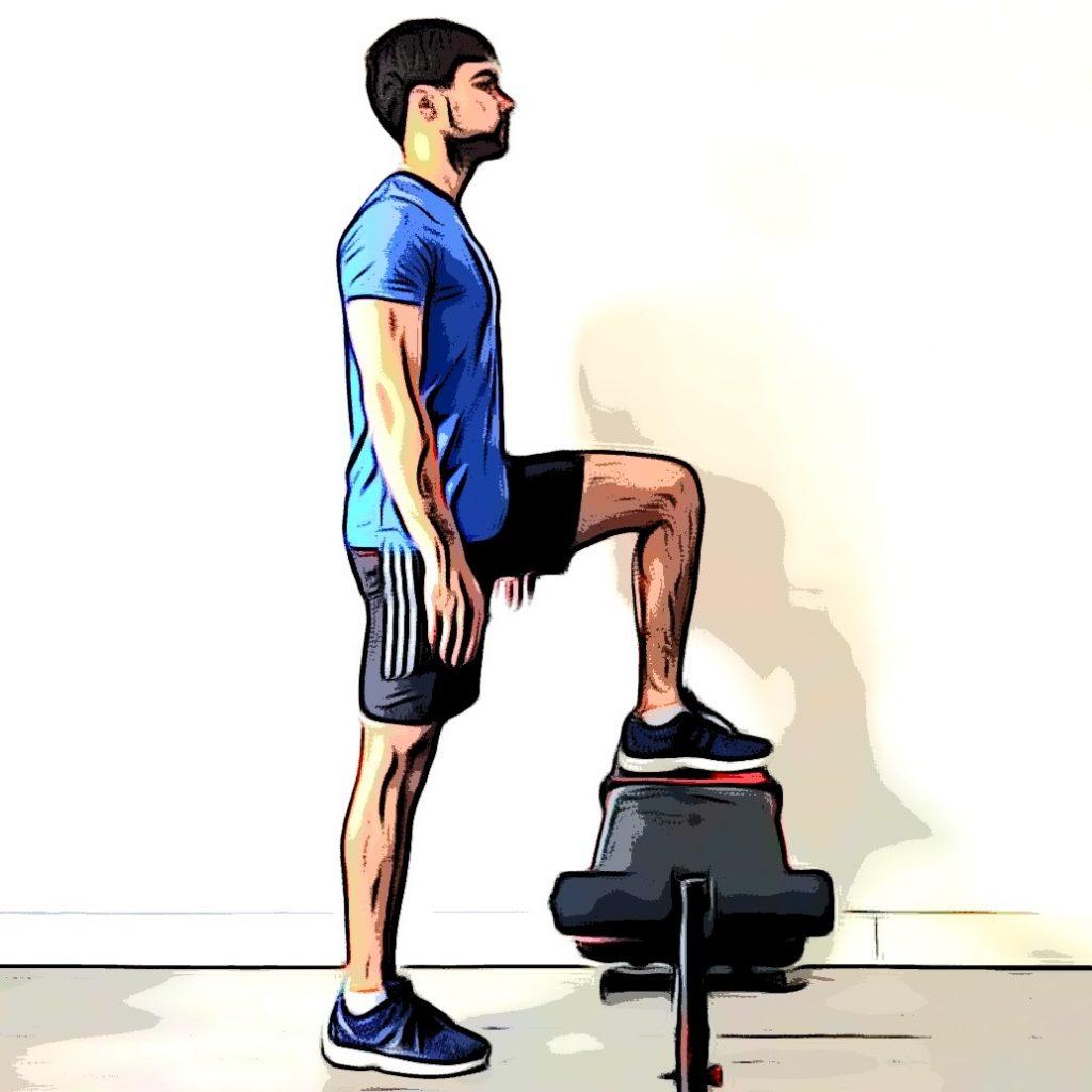 Exercice du step up pour un renforcement musculaire en course à pied