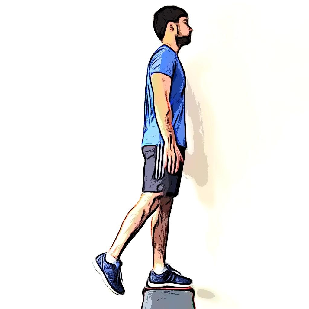 Exercice step up : montée sur le banc à une jambe