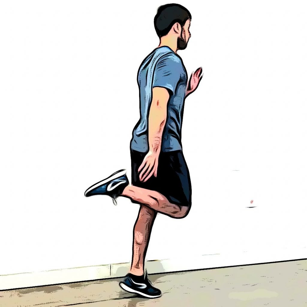 Talons-fesses : jambe droite