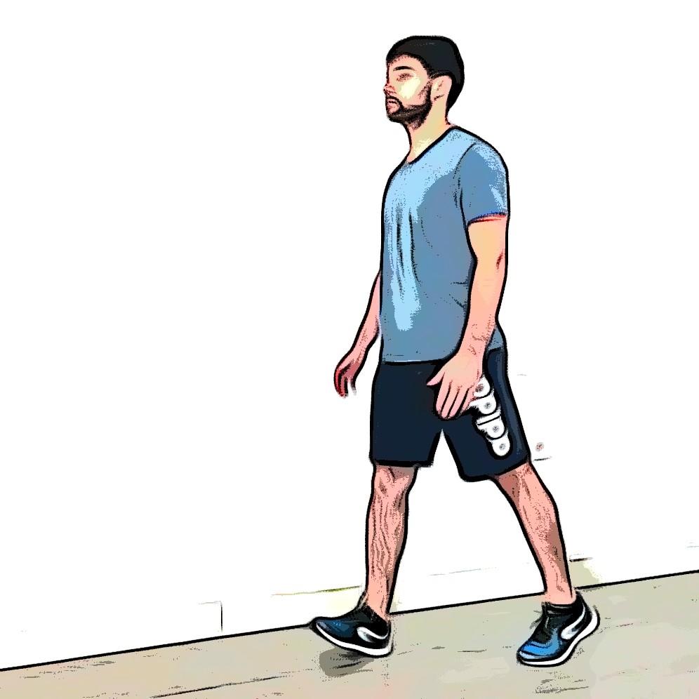 Marche avec genou surélevé : transition genou droit genou gauche