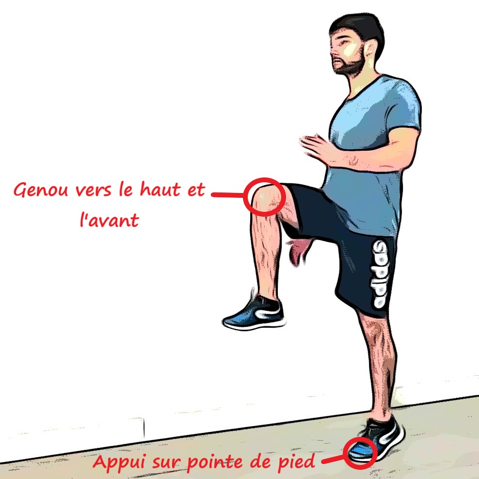 Marche avec genou surélevé : levé de genou droit
