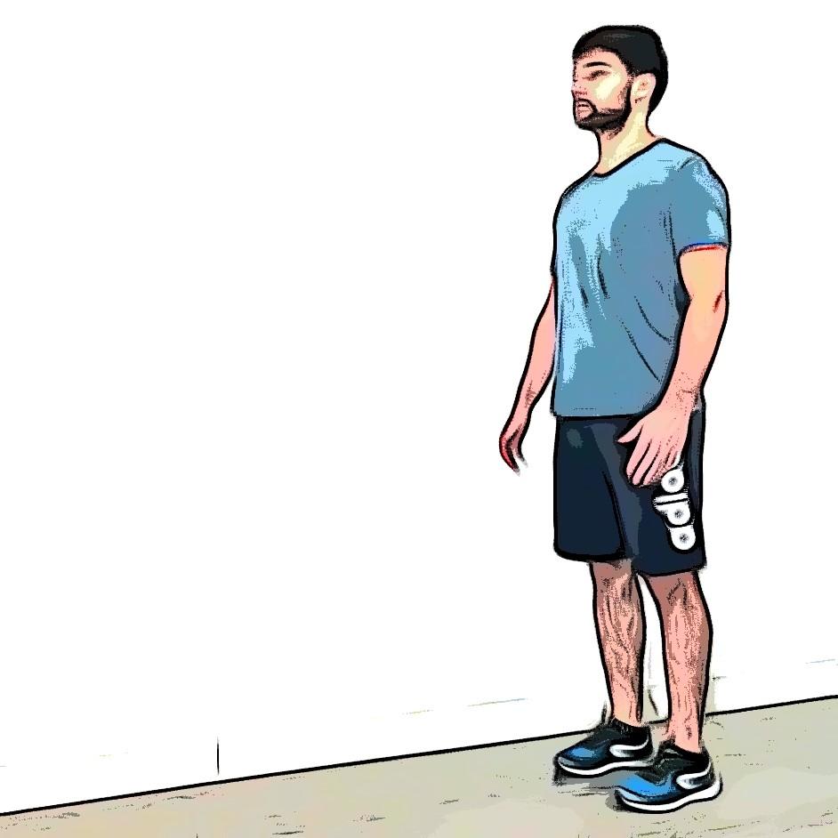 Marche avec genou surélevé : position de départ
