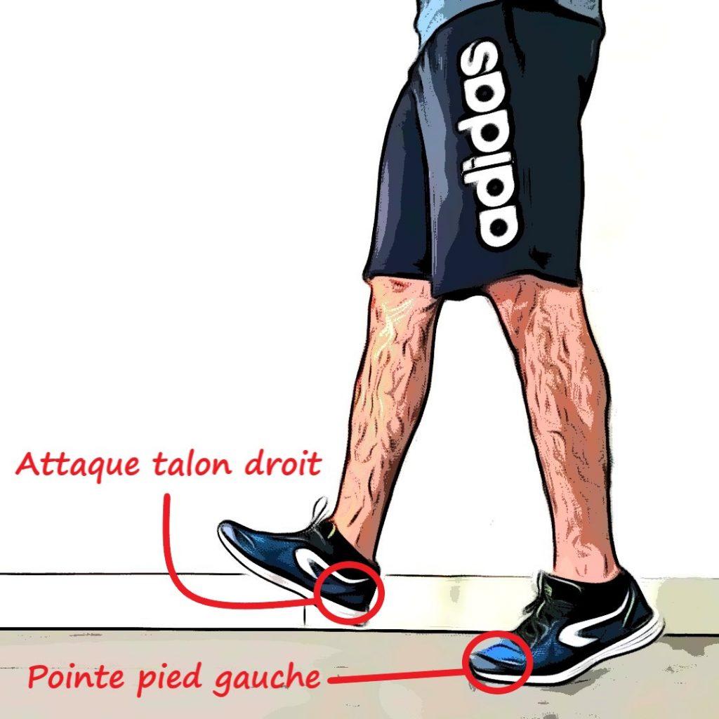 Talon pointe en course à pied : attaque talon droit