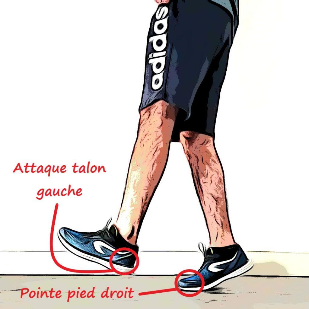 Talon pointe en course à pied : attaque talon gauche