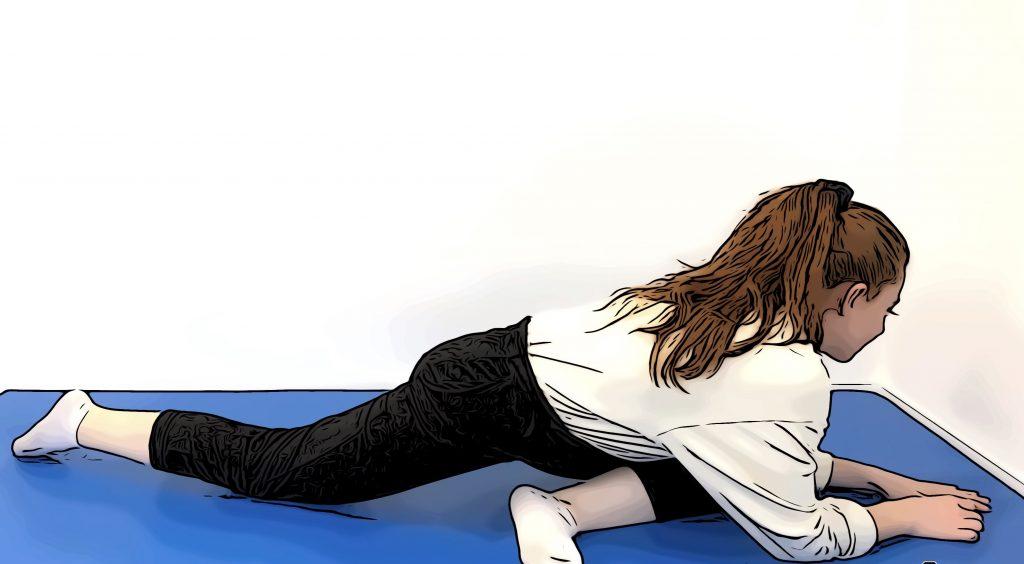 exercices de stretching pour les hanches, posture du pigeon