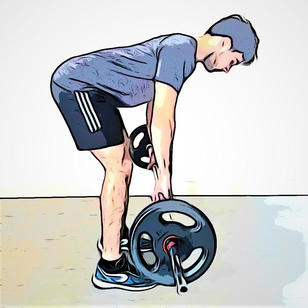personal trainer réalisant un soulevé de terre jambes tendues pendant un WOD Jambes Dos