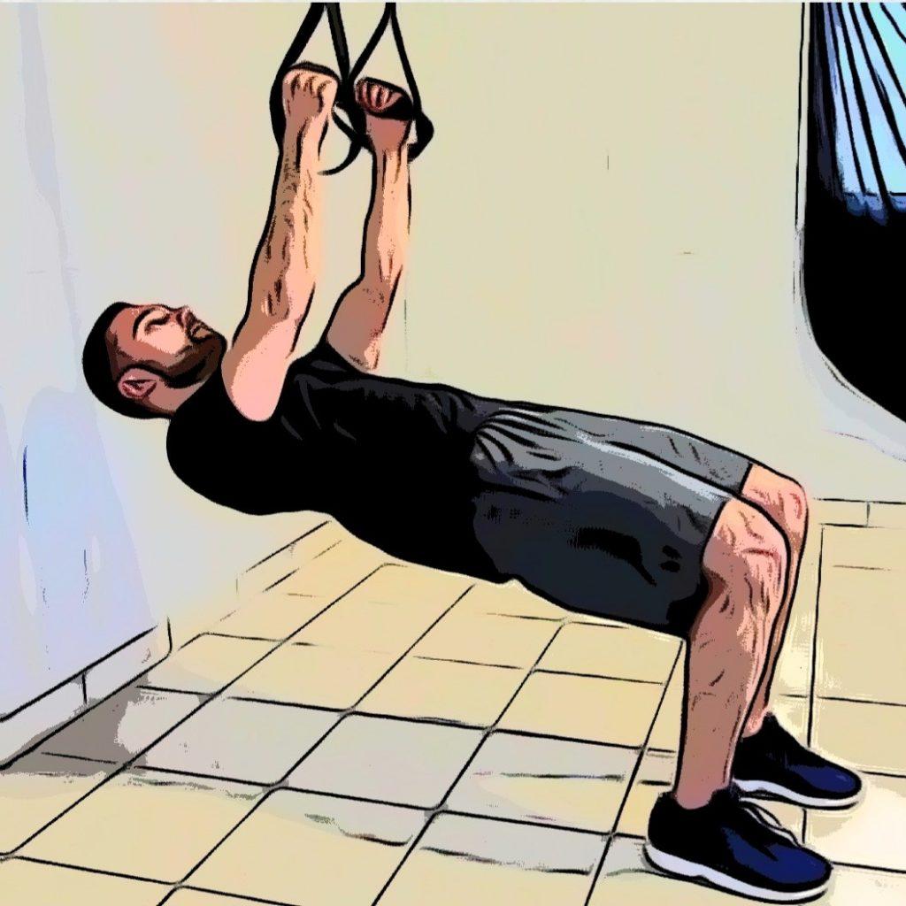 tirage jambes fléchies avec un TRX : un exercice pour le haut du corps