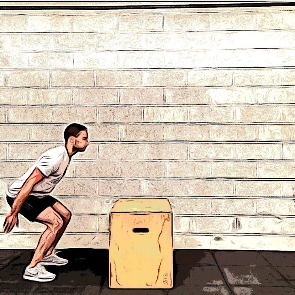 Box jump over : demi squat dynamique